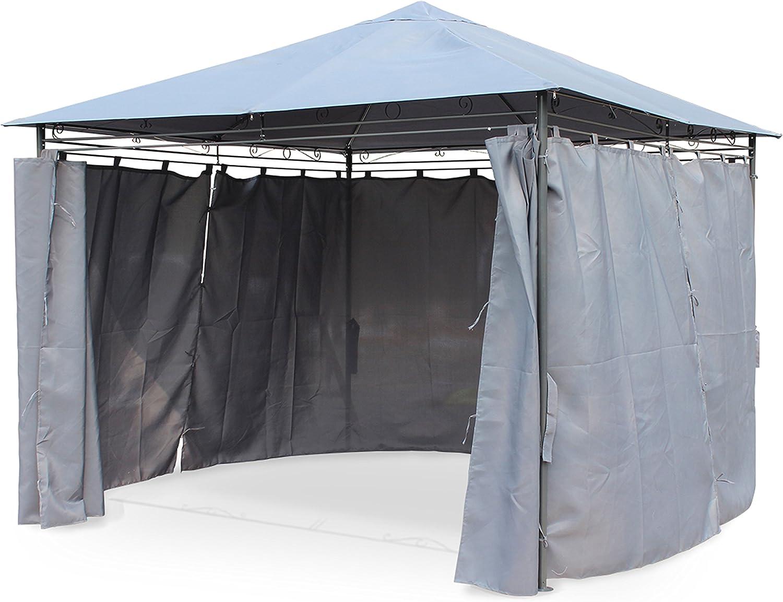 Alices Garden - Pergola con cortinas 3x3m - Gris: Amazon.es: Jardín