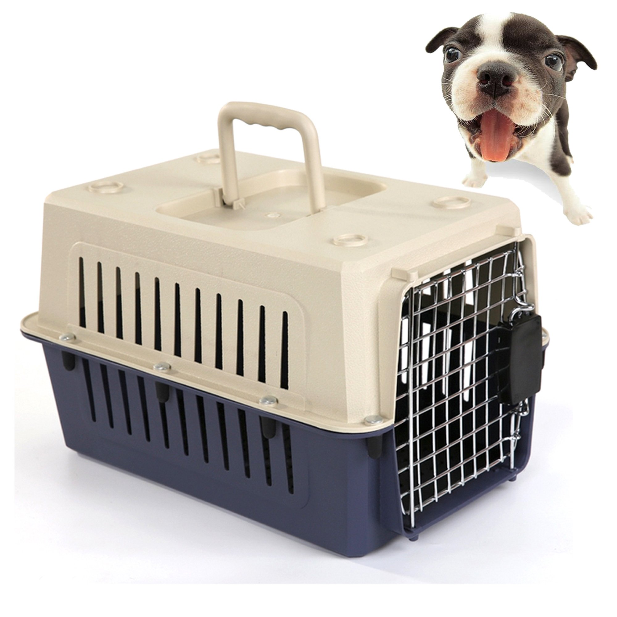 Lucky Tree 4 Size Pet Carrier Cat Carriers Kennel Crate Airline Approved Kitty Travel Cage Plastic Lightweight and Safe to Carry for Puppy Bunny Cats, 2 Color
