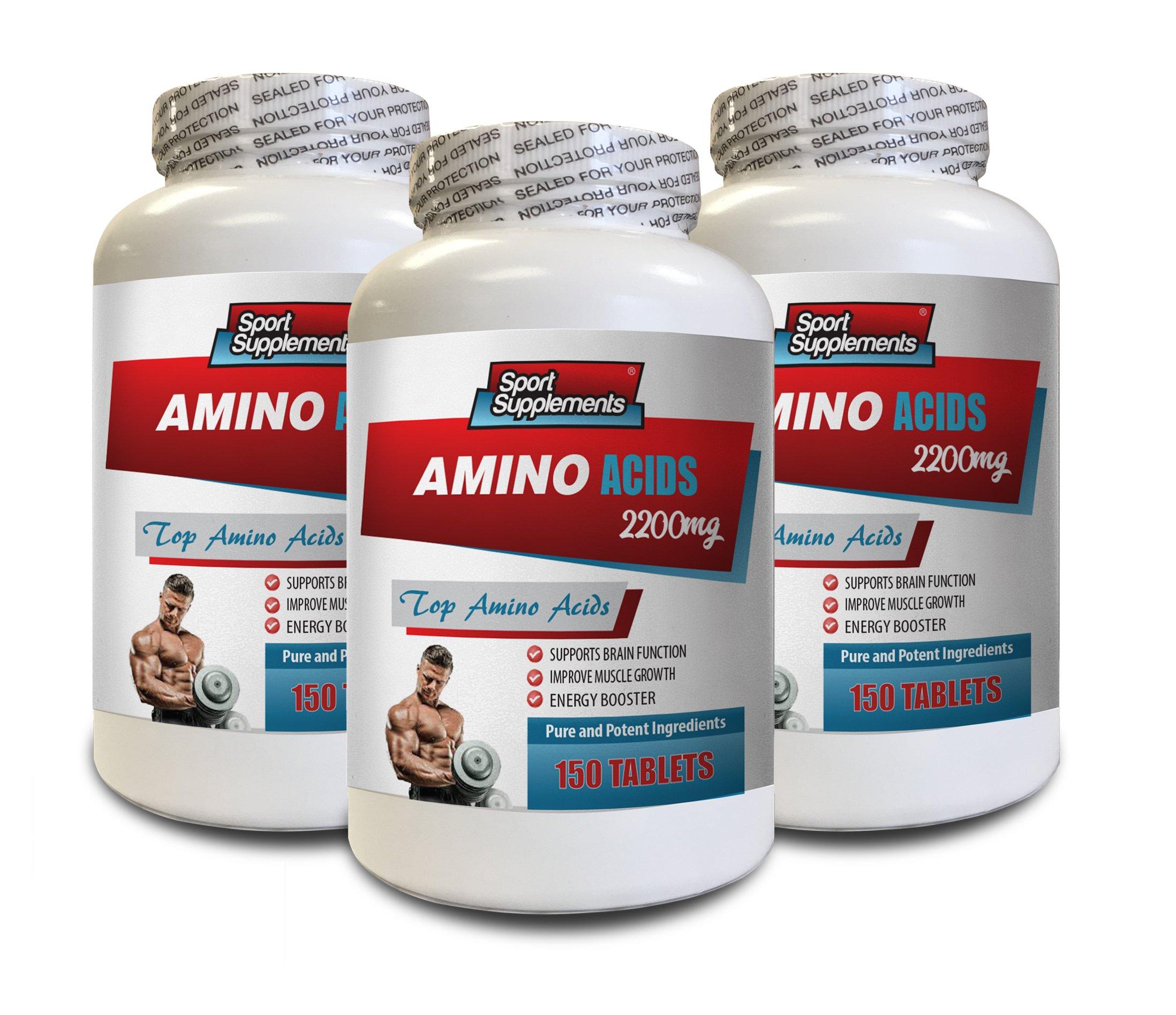 Muscle Mass Builder for Men - TOP Amino Acids 2200 mg - l-Glycine Supplement - 3 Bottles 450 Tablets