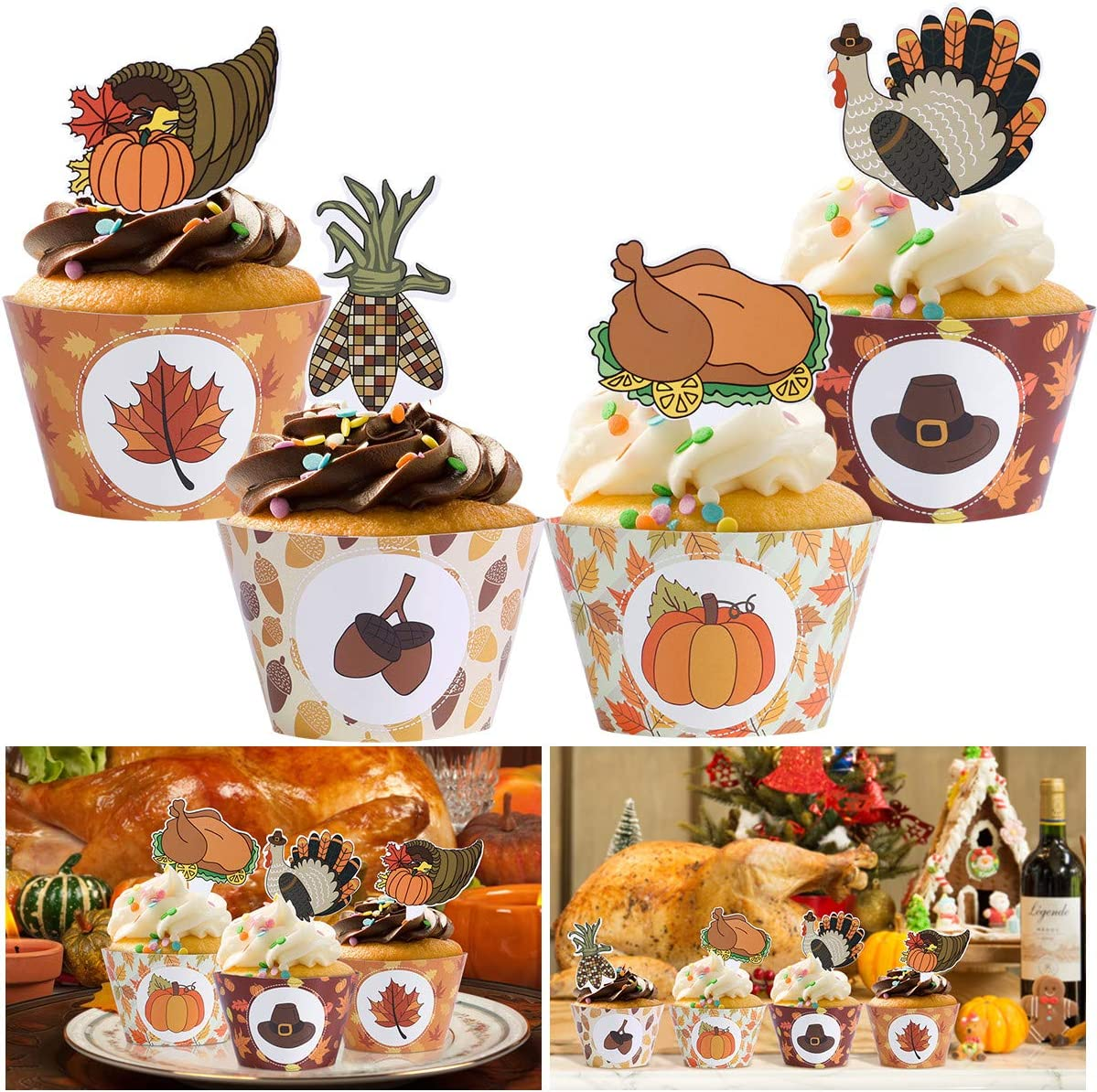 Thanksgiving Cupcake Toppers and Wrappers Decoration Set Food Picks for Thanksgiving Party Decoration 48 Pcs