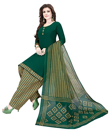 b0ed2071e0 Ishin Synthetic Green Printed Women's Unstitched Salwar Suits dress  material with Dupatta: Amazon.in: Clothing & Accessories
