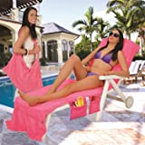 Lounger Mate Beach Towel Sun Lounger For Holiday Garden Lounge with Pockets - PINK