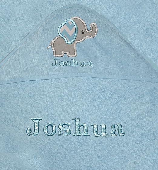 Bebé Niños personalizado elefante con capucha toalla de baño azul azul: Amazon.es: Bebé