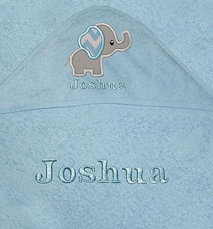 Bebé Niños personalizado elefante con capucha toalla de baño azul azul