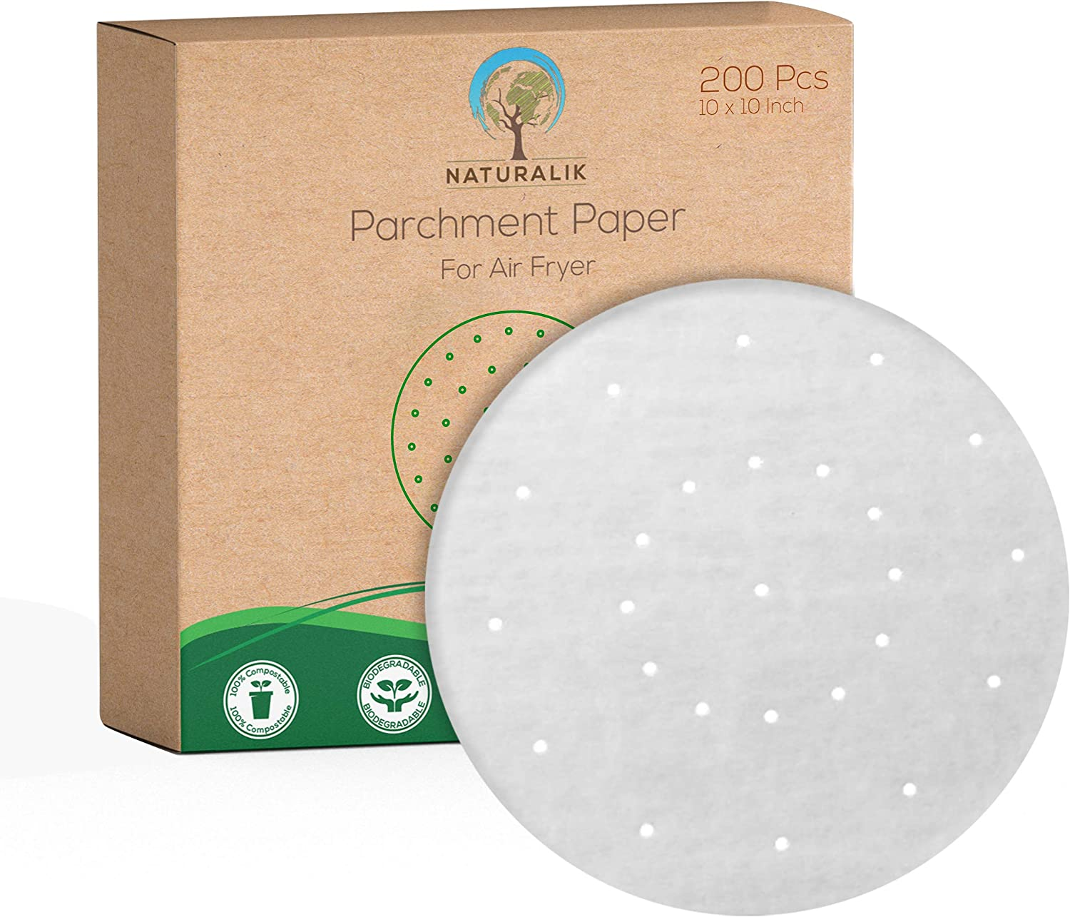 Naturalik 200pcs parchment paper 10 inch | bamboo steamer 10 inch | parchment paper for baking | air fryer parchment paper | perforated parchment paper for air fryer | Non-Stick 10'' round