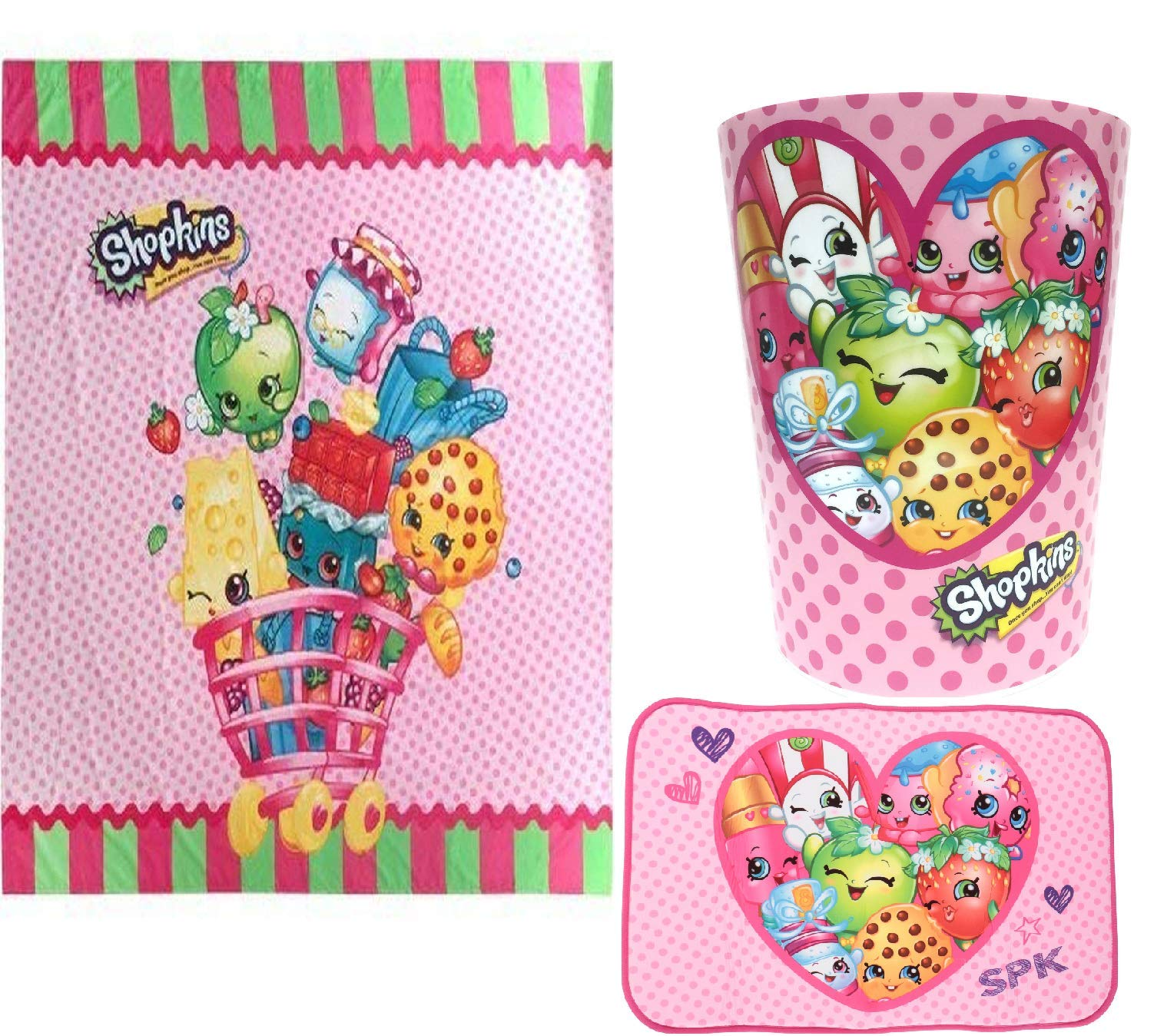 Shopkins Bathroom Accessories Including Shower Curtain, Wastebasket and Bath Mat