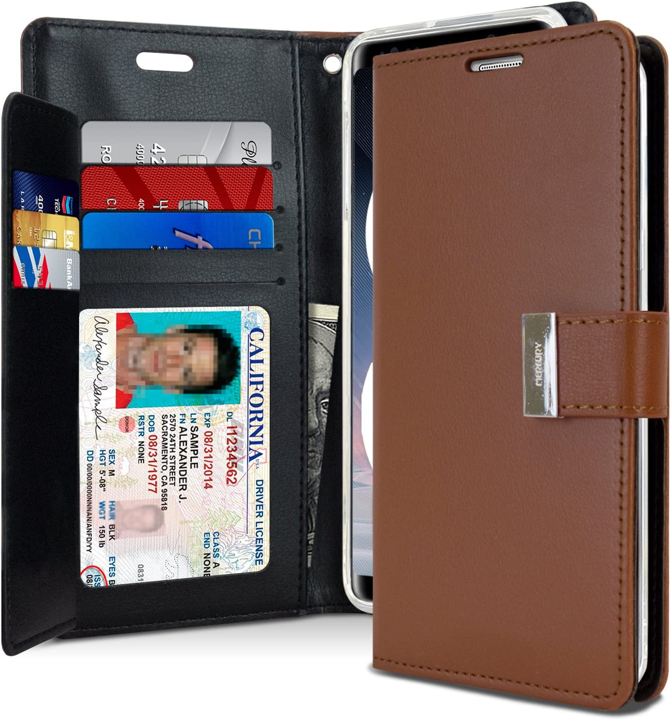 Goospery Rich Wallet for Samsung Galaxy Note 8 Case (2017) Extra Card Slots Leather Flip Cover (Brown) NT8-RIC-BRN