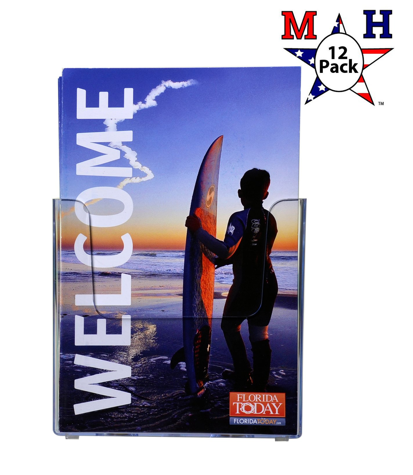Marketing Holders Wall Mount Brochure Holder for Half Sheet Literature up to 5.5''w (Clear, 12) by Marketing Holders