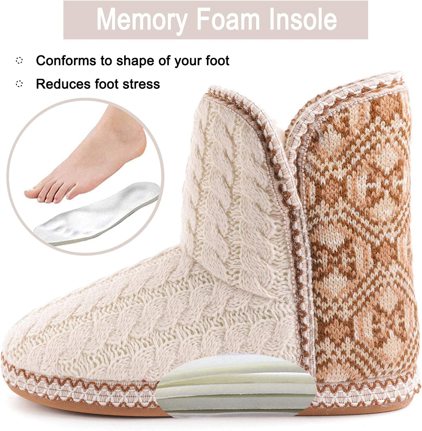RockDove Womens Cheyenne Cable Knit Indoor Bootie Slipper