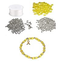 DIY Craft Kit, Everything to Make Cancer Awareness Bracelets, Uses Stretch Cord, for Fundraising and Gifts (Bladder Cancer Sarcoma - Yellow - Makes 5)