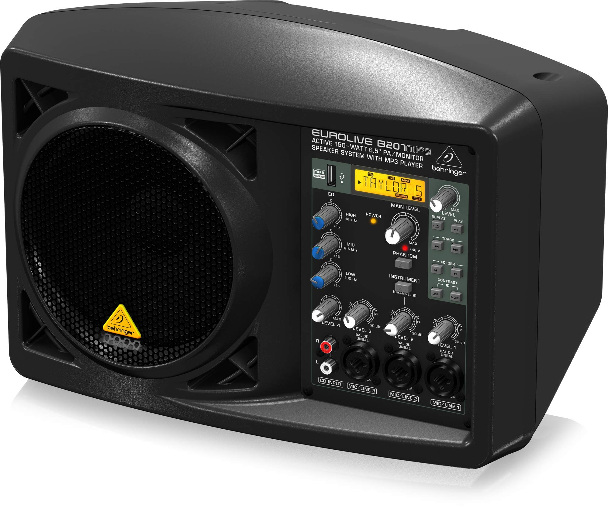 BEHRINGER B207MP3 Active 150-Watt 6.5'' Pa/Monitor Speaker System with Mp3 Player Black