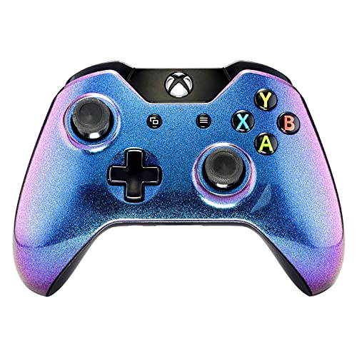 eXtremeRate Purple Blue Chameleon Anti Slip Front Shell Faceplate Top Case Upper Cover Replacement Parts for Microsoft Xbox One Controller