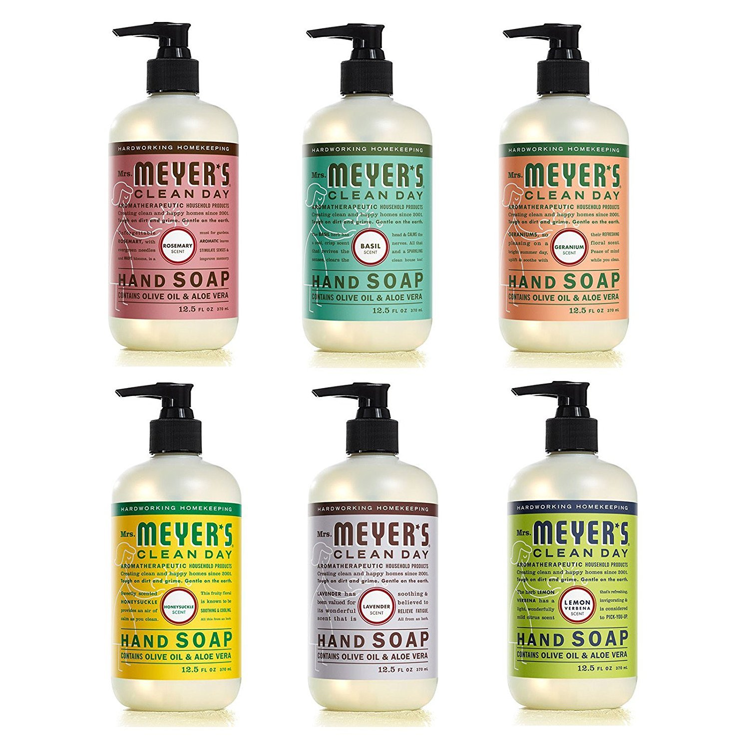 Mrs. Meyers Clean Day Liquid Hand Soap 6 Scent Variety Pack, 12.5 oz Each