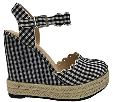 d1a6f002c79c C   C Balboa-1 Mary Jane Wedge Espadrille Platform Closed Toe Sandals  Gingham Black
