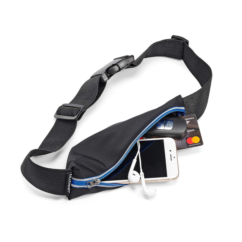 Fit /& Fresh 7140FFWBBLK Slim Running Belt Black OS Adjustable Waist Pack