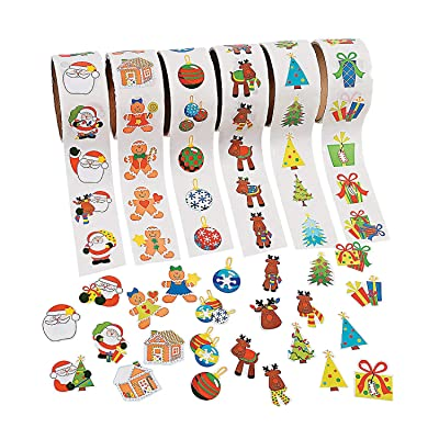 Fun Express - Christmas Stickers On A Roll for Christmas - Stationery - Stickers - Stickers - Roll - Christmas - 6 Pieces: Toys & Games