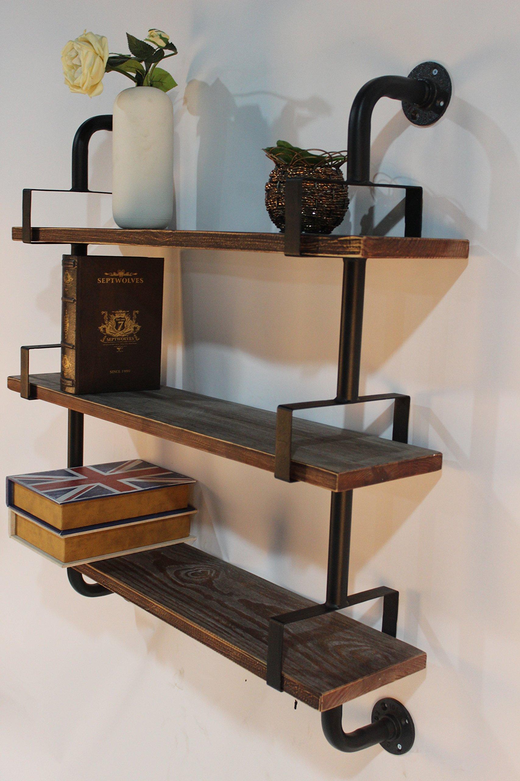 Reclaimed Wood & Industrial DIY Pipes Shelves Steampunk Rustic Urban Pipe Shelf 24''