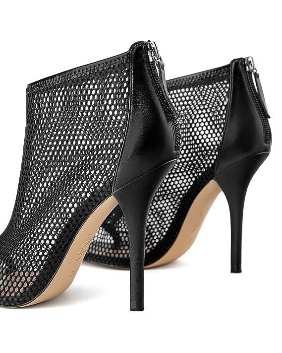 1f857c750ea Amazon.com  Zara Women Wraparound mesh high heel sandals 1386 001  Clothing