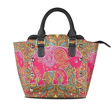 be21c8d45640 Amazon.com: Use4 Women's Tribal Mandala Elephant Rivet PU Leather ...