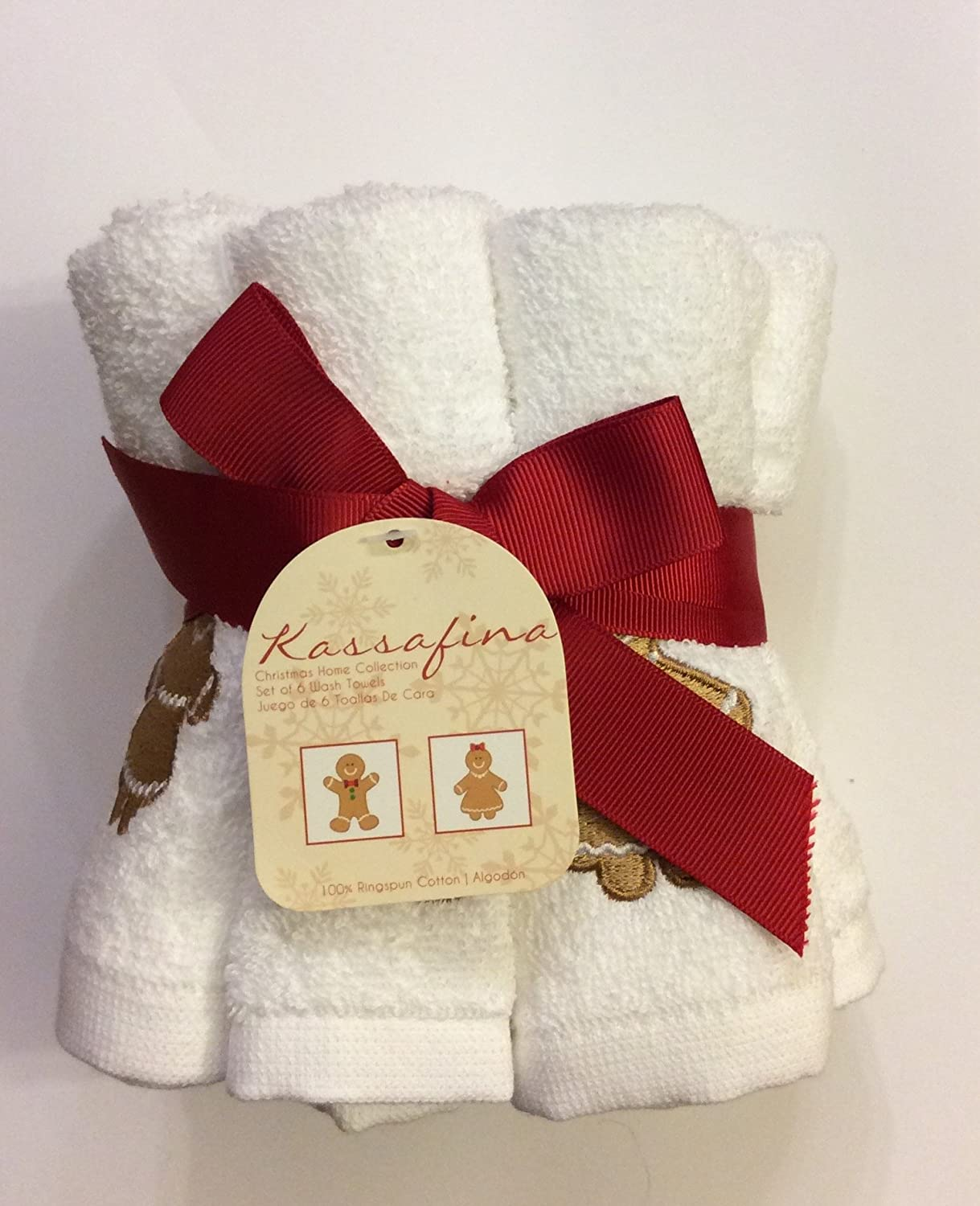 Amazon.com: Set of 6 Kassa Fina Holiday Christmas Collection Gingerbread Embellished Wash Towels, White: Home & Kitchen