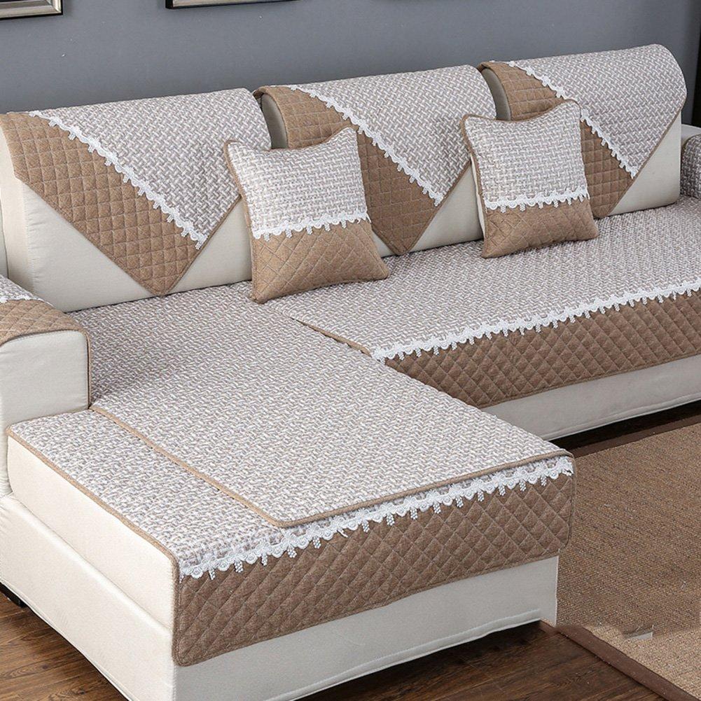 YANGYAYA Slipcovers del lino, Copertura anti-polvere antiscivolo panno divano divano copre protector mobili tiri cori e bracciolo venduto separatamente-N pillowcase 45x45cm(18x18inch) ZSDFVZVD