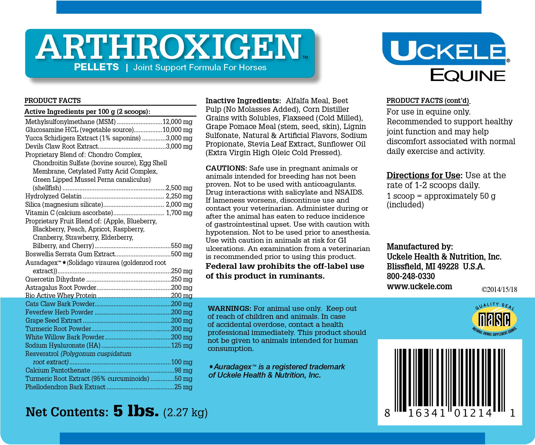 Uckele Arthroxigen Pellets for Horses - Joint Supplement - 5 Pounds