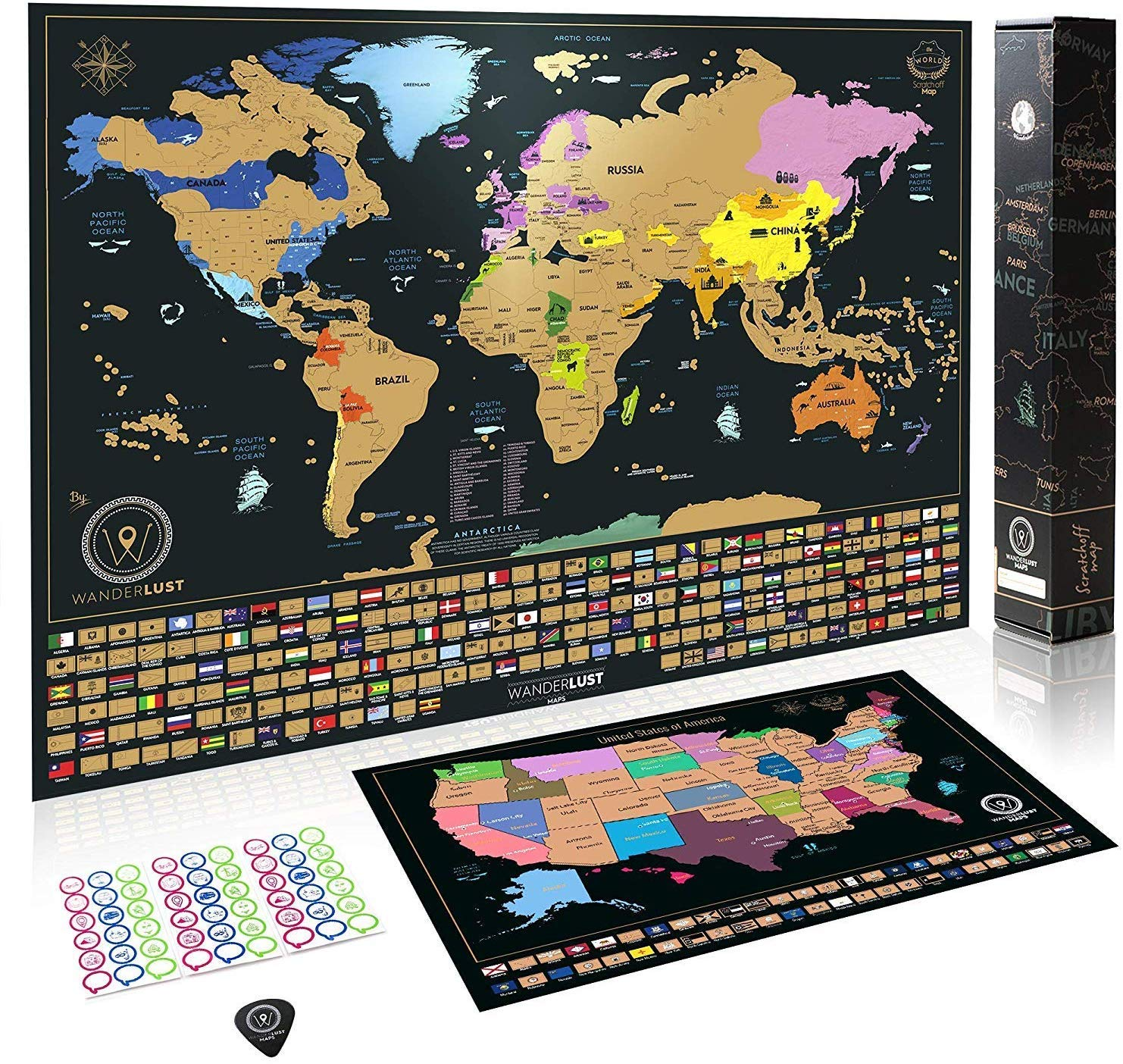 XL Scratch Off Map of the World + USA Map - Set of 2 Deluxe Gold Scratch-Off Posters with Colorful Countries,US States and Flags -Traveler Gift for Adults,Kids -Large and Small Sizes -Made in Europe
