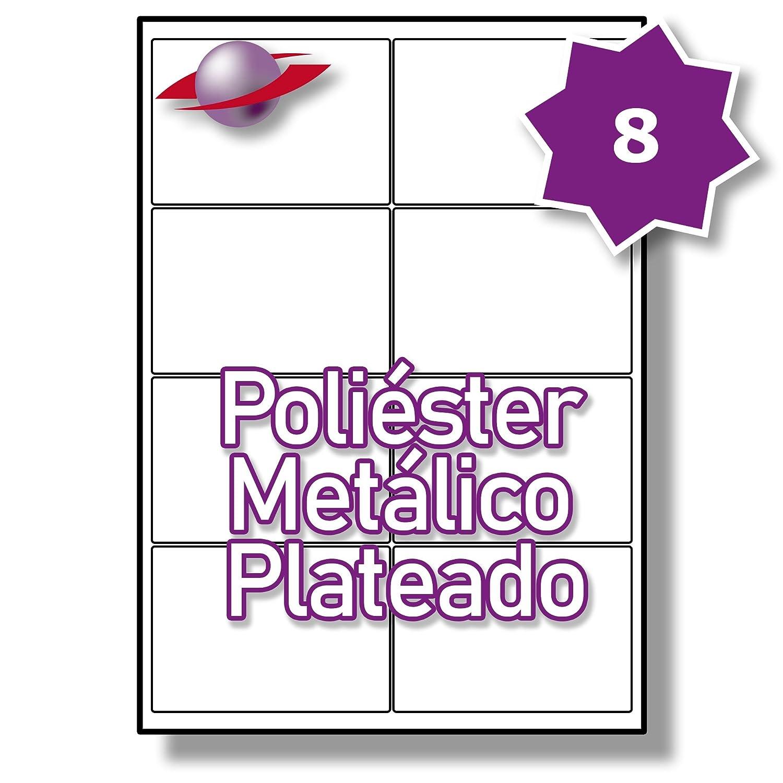 8 Par Hoja, 50 Label Hojas, 400 Etiquetas. Label 50 Planet® Etiquetas Metálicas de Poliéster de Plata para Impresión Láser 99.1 x 67.7mm, LP8/99 SMP. a1978f