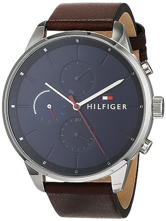 Tommy Hilfiger Reloj Multiesfera para Hombre de Cuarzo con Correa en Cuero 1791487: Amazon.es: Relojes