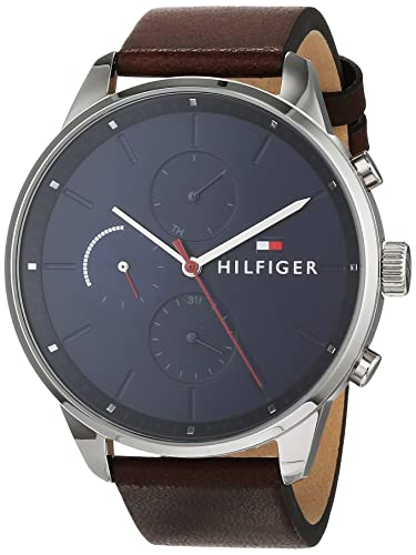 b9b82b6ee4f Tommy Hilfiger Unisex-Adult Multi dial Quartz Watch with Leather Strap  1791487  Amazon.co.uk  Watches