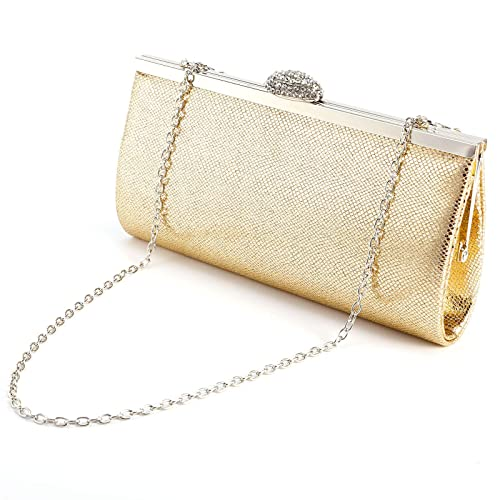 7a8380a15d6418 Anladia Evening Bag Clutch Handbags Envelope Purse for Women Flap Glitter  with Chain Strap (Gold): Handbags: Amazon.com