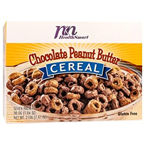 HealthSmart High Protein Chocolate Peanut Butter Cereal, 14g Protein, Low Calorie, Low Sugar, Low Fat, Gluten Free, KETO Diet Friendly, Ideal Protein Compatible, 7 Count Box