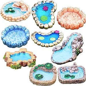 9Pcs Fairy Garden Miniature Pond, Resin Fairy Garden Decor Accessories, Micro DIY Fairy Garden Ornaments Kit, Enchanted Garden Accessories Fairy Garden Supplies for Gnomes and Fairies