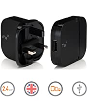 Portable Charger by Mu | British Tablet Charger | Universal Adapter iPhone Charger for All Smart Phones and Tablets | 2.4Amp Single USB port in Black