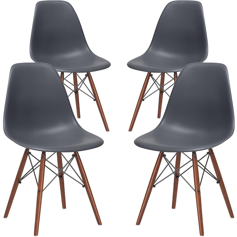Amazon.com   Poly And Bark Vortex Side Chair Walnut Legs, Grey, Set Of 4    Chairs