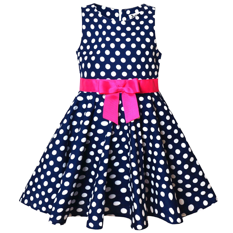 Jxstar Girl Sleeveless Polka Dot Vintage Print Swing Party Dresses Summer Casual