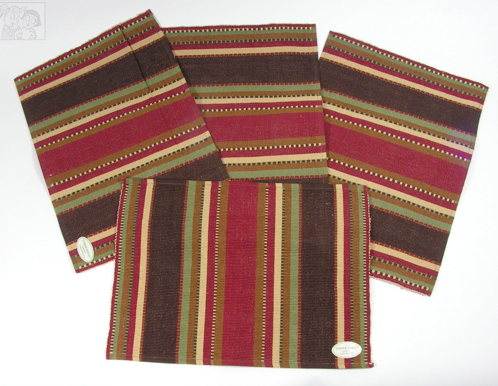 Timber Ridge Placemats Set of 4 by Creative Home Accents, Brown, 13x19 inches - Set of 4 Timber Ridge Striped Design Placemats Park Designs Southwestern Flair Timber Ridge Placemats Colors of tan, brown, brick reds and green - placemats, kitchen-dining-room-table-linens, kitchen-dining-room - 812cfiIPTsL -