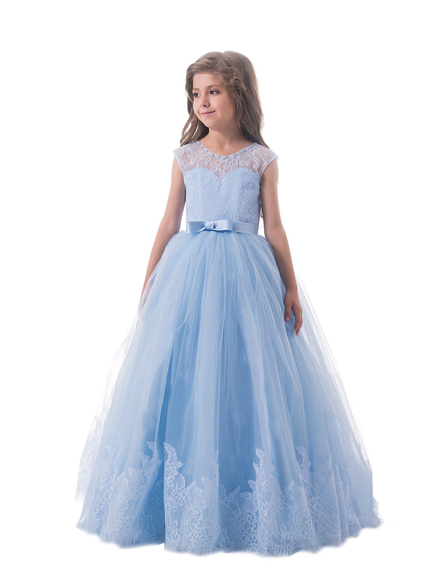Nicefashion Girls Debutante Dresses Floor Length Wedding Dresses for Kids Blue US16