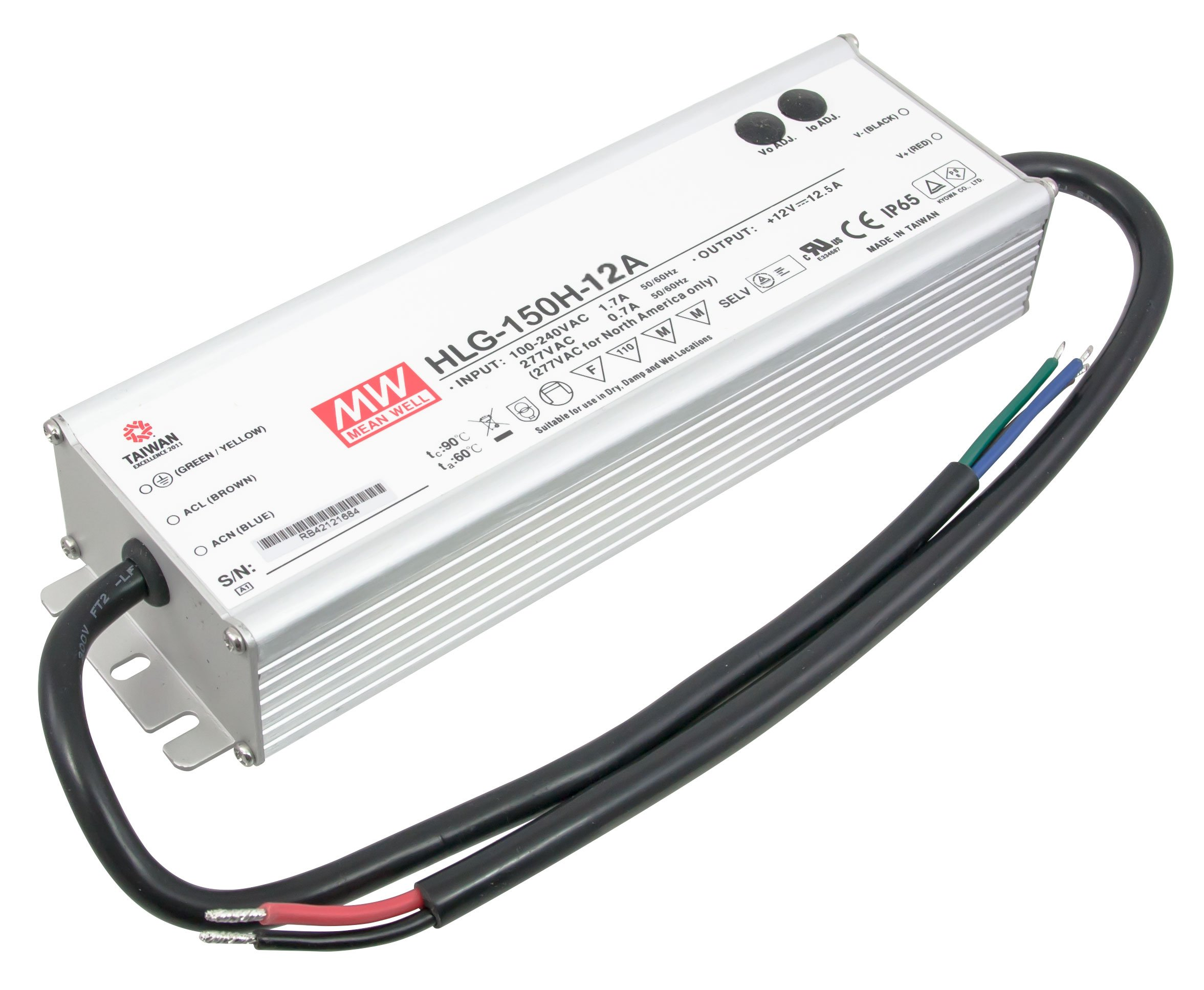 American Lighting 150W 12V DC Constant Voltage LED Hardwire Power Supply Driver, White