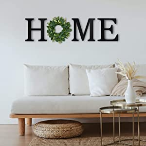 Home Wall Decor Cutouts, Farmhouse Signs for Home Decor Wall Display, Rustic Large Letters for Wall Decor with Wreath, Hanging Home Letters for Wall with Wreath (Black)
