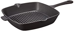 Ewei's Homeware 10.5 inch Pre Seasoned Cast Iron Skillet Pan, Square Grill Pan