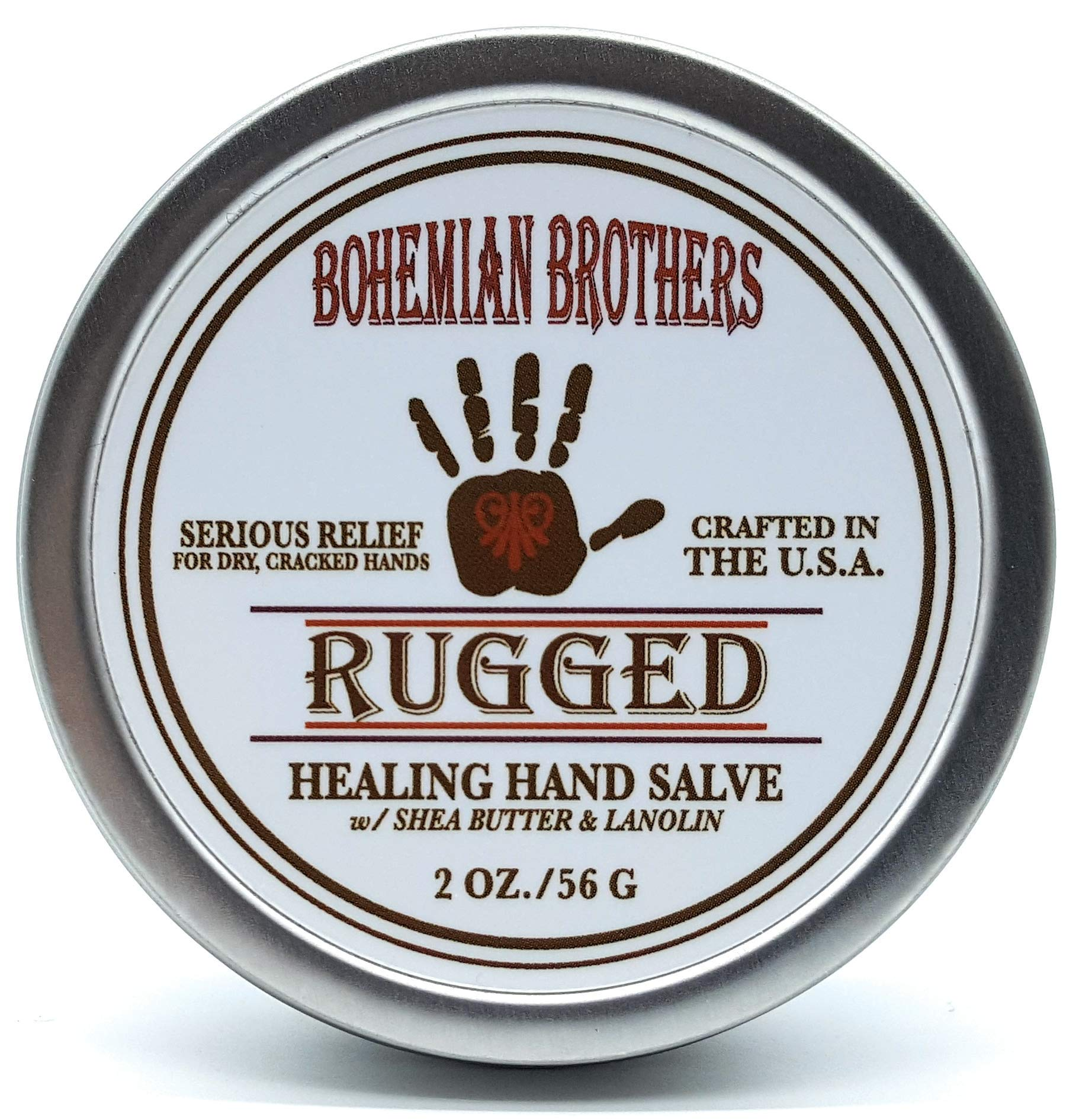Serious Relief for Dry, Cracked Hands. Bohemian Brothers Natural Hand Salve(Ointment, Creme). Formulated with Lanolin, Cocoa Butter, and Vitamin E. Soothes and Protects Dry Chapped Skin. by Bohemian Brothers
