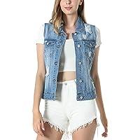 MISS MOLY Chaleco Vaquero Mujer Chaqueta De Mezclilla Sin Manga Chaleco Corto Jeans Denim con Bolsillos Small Azul Claro