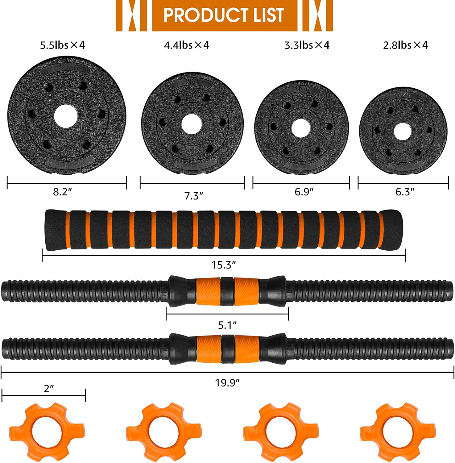 5//15//20//33//66 lbs 2 in 1 Weights Dumbbells Non-Slip Neoprene Hand with Connecting Rod for Adults Women Men Fitness,Home Gym Training Equipment BOSWELL Adjustable Free Weights Barbell Dumbbells Set