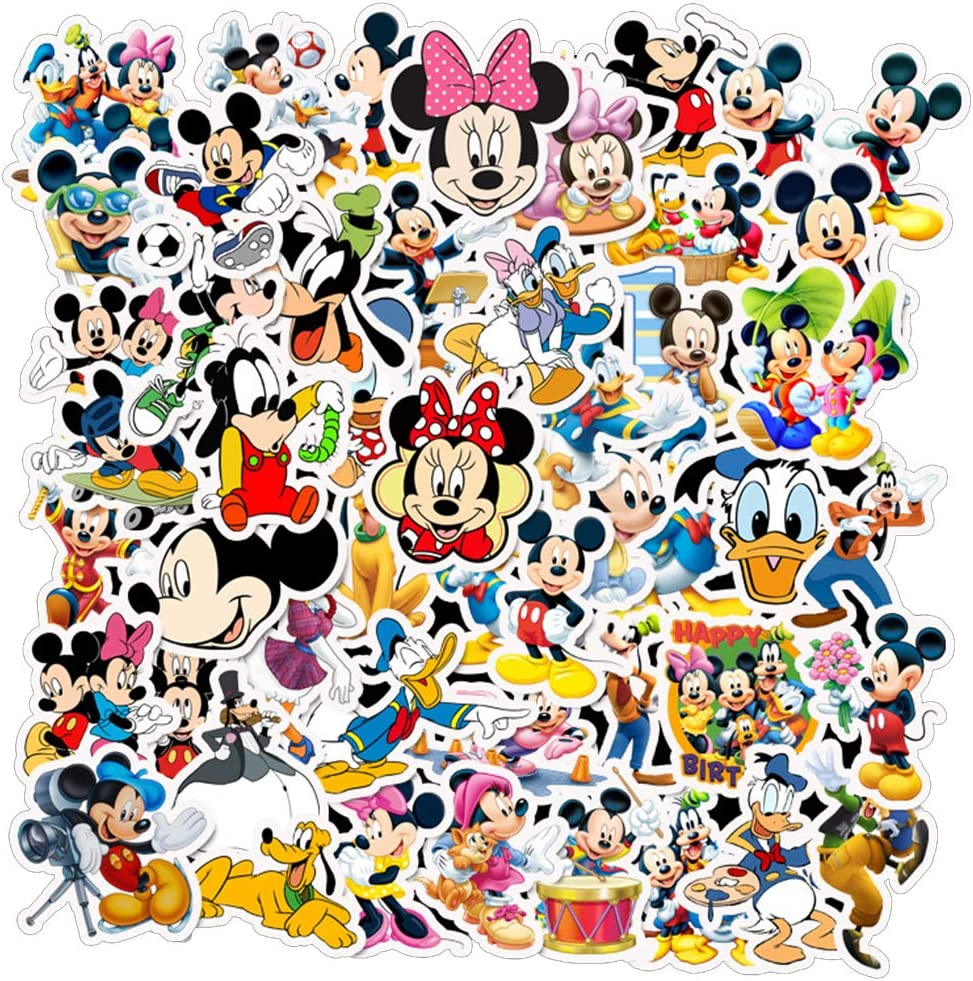 Mickey Mouse and Donald Duck Stickers for Water Bottles 50 Pcs Cute,Waterproof,Aesthetic,Trendy Stickers for Teens,Girls Perfect for Waterbottle,Laptop,Phone,Travel Extra Durable Vinyl