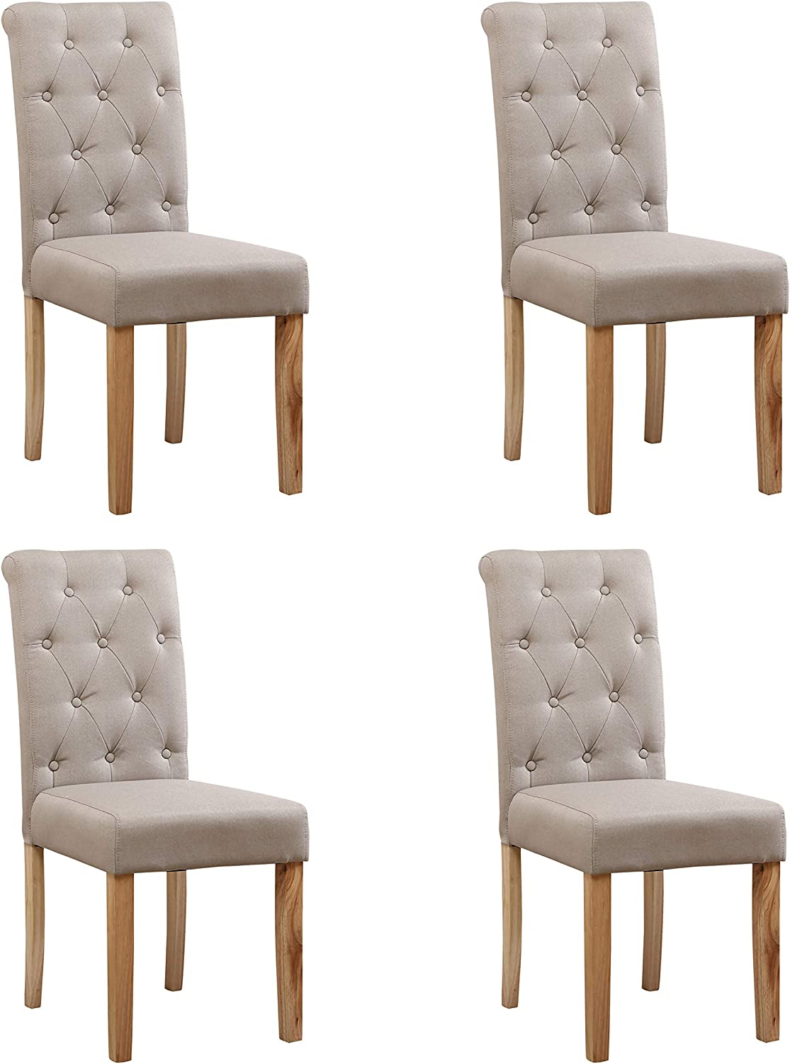 Neo® 4X Fabric Button High Back Roll Top Seat Dining Room Chairs Set Wooden Oak Legs (Cream)