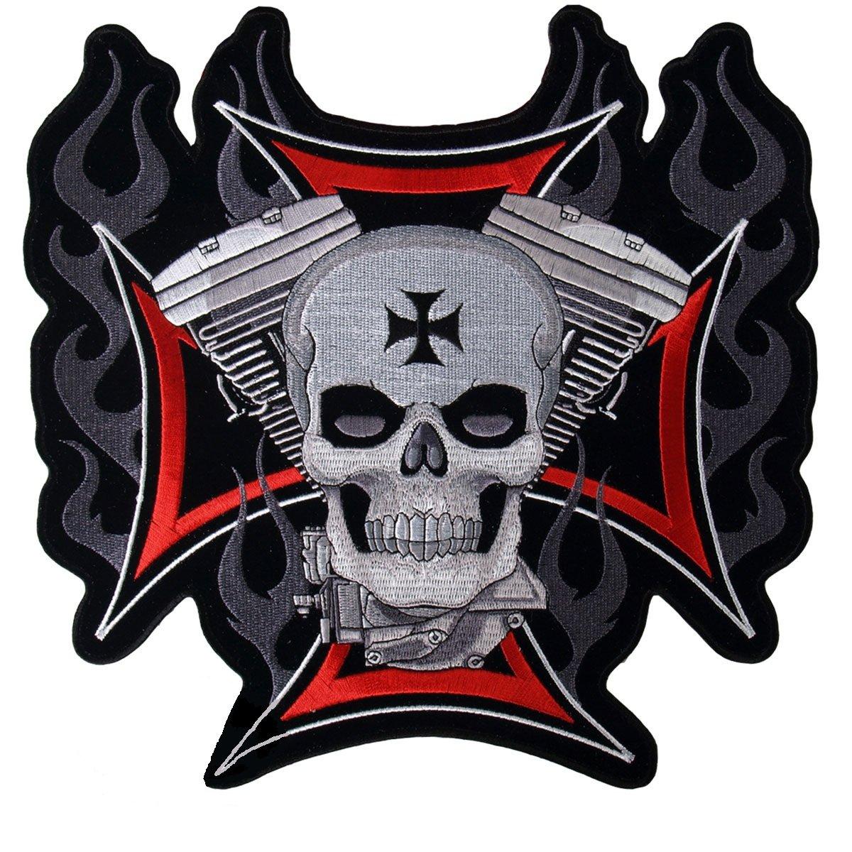 Patch Moto Kreuz von Malta Totenkopf klein AMT CUSTOM