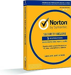 Norton Security Deluxe - Antivirus, PC/Mac/iOS/Android, 5 dispositivos, 1 año