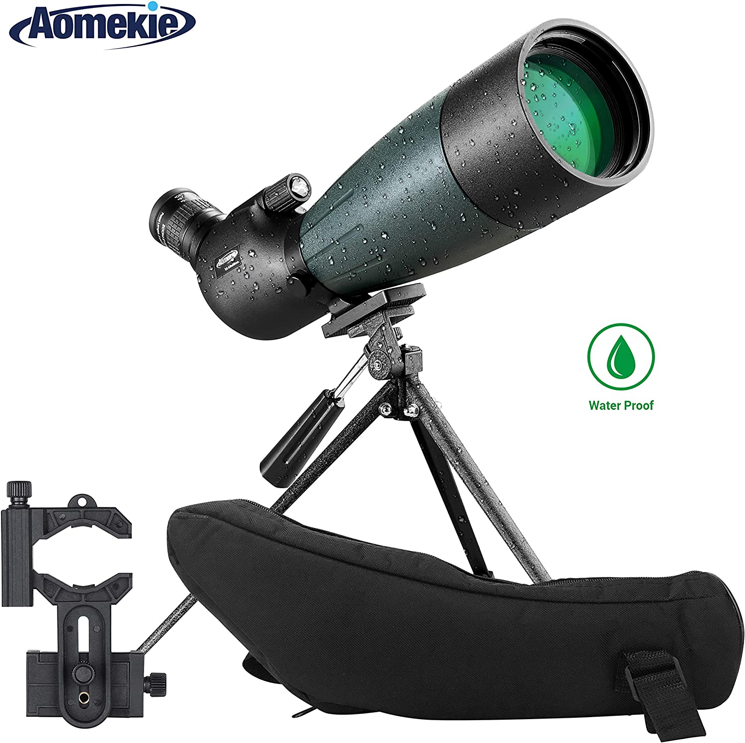 AOMEKIE Spotting Scope with Tripod Phone Adapter Case 20-60X80 for Target Shooting Hunting Bird Watching Waterproof Fogproof FMC BAK4 45 Angled Monocular Telescope