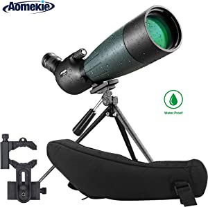 AOMEKIE 20-60X80 Spotting Scope with Tripod Phone Adapter Case for Target Shooting Hunting Bird Watching Waterproof Fogproof FMC BAK4 45°Angled Monocular Telescope